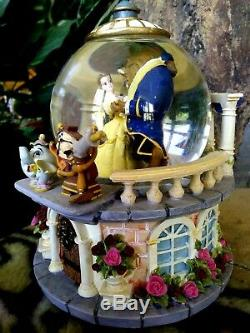 BEAUTY & BEAST DANCING ON CASTLE BALCONY, DISNEY STORE MUSICAL SNOW GLOBE, withTAG
