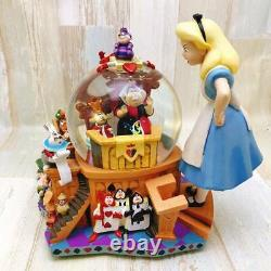 DISNEY Alice in Wonderland Figure Snow Globe Music Box Snow Dome #50