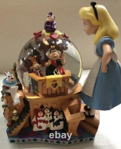 DISNEY Alice in Wonderland Figure Snow Globe Music Box Snow Dome Operationtested