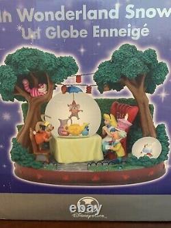 DISNEY Alice in Wonderland Tea Party Rotating Snow Globe Music Box Figure NIB