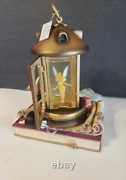 DISNEY Tinkerbell Lantern Musical Snow Globe plays You can fly Peter Pan