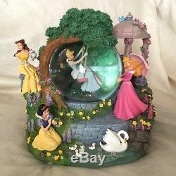 Disney 4 Princesses Aurora Belle SWAN GARDEN Musical Figurines SnowGlobe-IOB