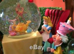 Disney Alice In Wonderland Snow Globe Mad Hatter's Tea Party Unbirthday. NEW