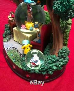 Disney Alice in Wonderland Mad Tea Party Music Box Snow Globe Rare