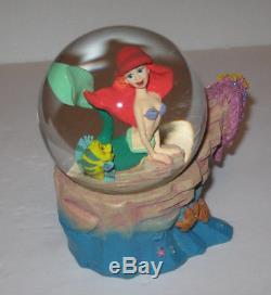 Disney Ariel Little Mermaid Water Fountain Snow Globe Rare Retired Tested Works
