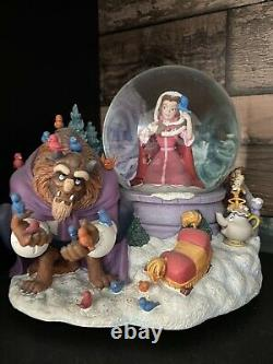 Disney BEAUTY AND THE BEAST Snow Globe WINTER BIRD FEEDING SCENE