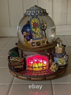 Disney BEAUTY & The BEAST Musical Snow Globe 1991 On Balcony with box
