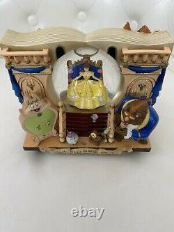 Disney Beauty And The Beast Snow Globe Music Box 1991 Rare