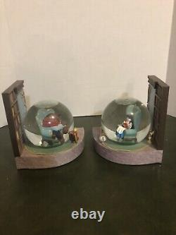 Disney Beauty & The Beast Snow Globe Bookends. RARE