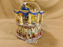 Disney Beauty and the Beast Belle Castle Snowglobe Music Box Display