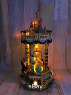 Disney Beauty and the Beast Castle Snow Globe Dome Music Box Figurine