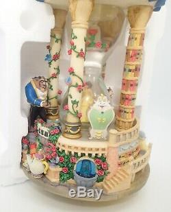Disney Beauty and the Beast Hour Glass Snow Globe Lights Up & Music WithBox