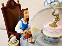 Disney Beauty and the Beast Music Box Snow Globe Be our Guest Dome Figure Bell