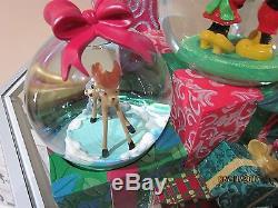 Disney Christmas Snow Globe Mickey Minnie Tinker Bambi Alice Dumbo Pinoccho Mib