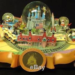 Disney Disneyland 50th anniversary Ltd Ed, snowglobe RARE! Dumbo, Mickey