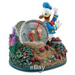 Disney Donald Duck Chip & Dale Strawberry Garden Musical Snowglobe Globe NIB