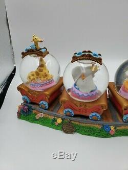 Disney Dumbo Triple Snow Globe Casey Jr Railroad Train Musical Snowglobe RARE