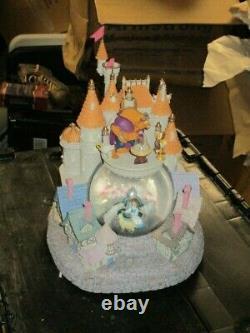 Disney Huge Beauty & The Beast Snow Globe Castle Very Rare Heavy Rose Glass