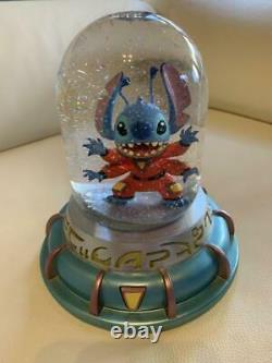 Disney Lilo & Stitch Snow Globe Snowflakes Spaceship Vintage USA Rare Used
