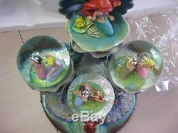 Disney Little Mermaid Ariel Snowglobe 3 Globe Daughters of Triton Light Up withbox
