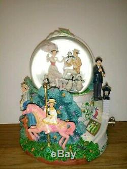 Disney Mary Poppins Let's Go Fly A Kite Animated Musical Water Snow Globe Vtg
