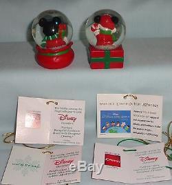 Disney Mickey Minnie Mouse JC Penney Mini Christmas Water Snowglobe Set Lot 15