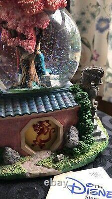 Disney Mulan Reflections Musical Snow Globe Rotating Figures Waterfall TAGS ON