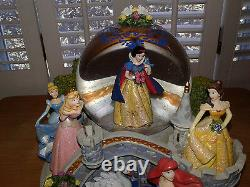 Disney Multi Princess Snow Globe Snow White Cinderella Belle Mermaid Music