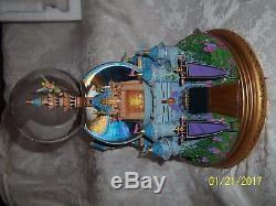 Disney Musical Snow Globe CINDERELLA CASTLE TINKER BELL FLIES PETER PAN WithBOX