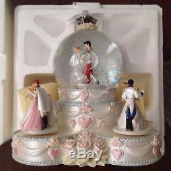 Disney PRINCESS WEDDING CAKE Musical Spin Figurines SnowGlobe-MIB