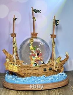 Disney Peter Pan Musical Snow Globe YOU CAN FLY Captain Hook Pirate Ship RETIRED