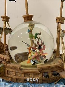 Disney Peter Pan Pirate Ship Musical Snow Globe You Can Fly