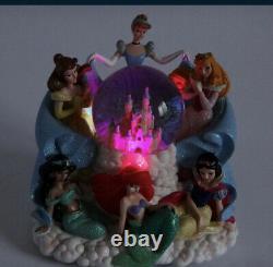 Disney Princess Musical Snow Globe Cinderella Lighted White Jasmine Belle Castle