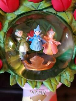 Disney RARE Sleeping Beauty Red Roses Snowglobe Fairies Excellent Bouq