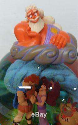 Disney Rare Hercules Hades Zeus Meg Snowglobe With Rotating Base Music