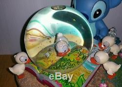Disney Rare Stitch with Ducklings Snow Globe Snowglobe Tested & Spins