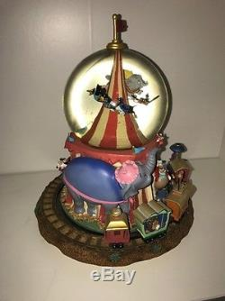 Disney Snowglobe Dumbo, Circus characters, Casey Junior Train plays and rotates