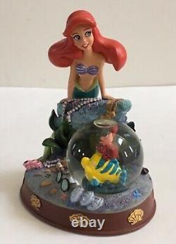 Disney Store 2009 Little Mermaid Snow Globe Ariel withFlounder Sebastian Treasures