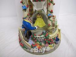 Disney Store Beauty & The Beast Hour Glass Snow Globe Music Box