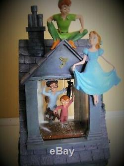 Disney Store Exclusive Peter Pan Darcy House Snow Globe LIGHT UP MUSIC BOX RARE