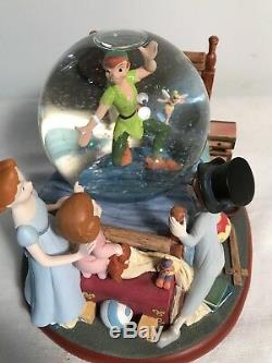 Disney Store Exclusive Peter Pan IN THE BED ROOM Figurine SnowGlobe-RARE