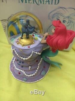 Disney Store Japan The Little Mermaid Snow Globe Figure Ariel Flounder 30th NIB