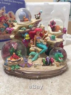 Disney Store LITTLE MERMAID Snow Globe Musical UNDER THE SEA Ariel & friends