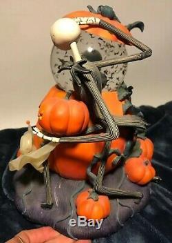Disney Store Nightmare Before Christmas Halloween Pumpkin Music Snow Globe