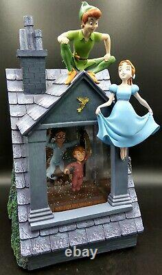 Disney Store Peter Pan You Can Fly Music Snow Globe Darling House Window RARE
