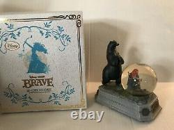 Disney Store Pixar Brave Snow Globe Merida & Bear Lights Up With Automatic Blower