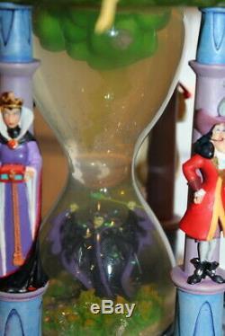 Disney Store Villains Hourglass Snow Globe Maleficent Ursula Dragon Lights Sound