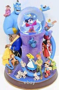 Disney Store Wonderful World of Disney Snow Globe LARGE Musical Lights Up