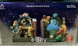 Disney Store Wonderful World of Disney Through the Years Book End Snow Globe Set