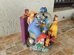 Disney Store Wonderful World of Disney Through the Years Book End Snow Globe Set
